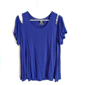 Bobeau cold shoulder purple shirt XL